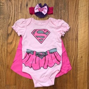 Supergirl Baby Onesie With Cape Size 3-6 Months